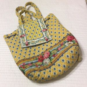 Vera Bradley quilted yellow/blue backpack